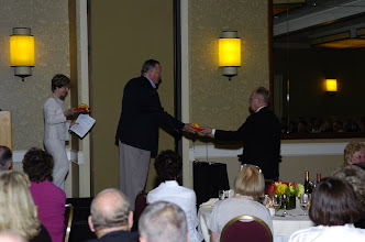 Photo: Bob Norwood Jones, from New Orleans, LA, receives 3rd runnerup award for distance traveled