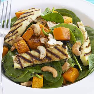 Spinach, Butternut Squash and Halloumi Salad.