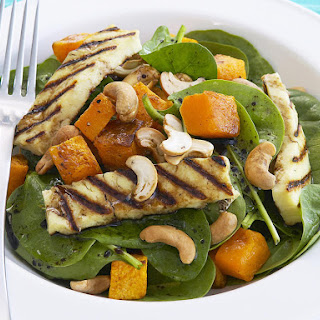 Spinach, Butternut Squash and Halloumi Salad.