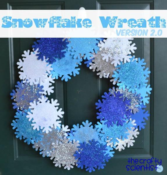 Photo: Glittered snowflake wreath tutorial here: http://www.thecraftyscientist.com/2012/01/glittered-snowflake-wreath.html.