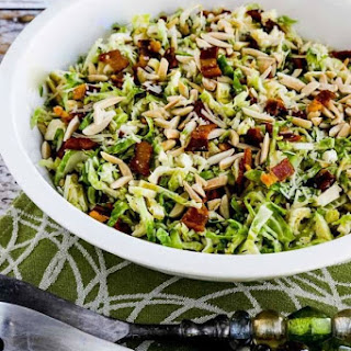 Low-Carb Brussels Sprouts Salad with Bacon, Almonds, and Parmesan.