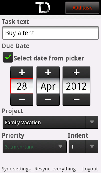 Photo: Quick date select using the date picker