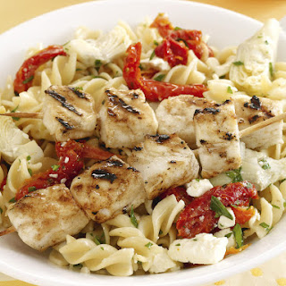 Fish Skewers with Pasta Salad.