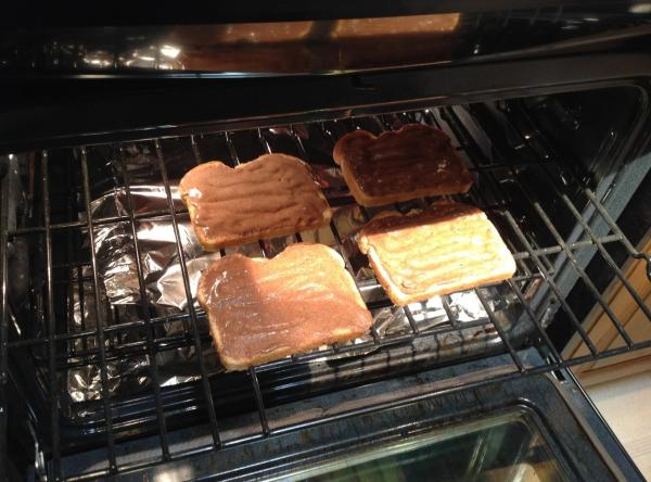 Put some aluminum foil under top rack to catch any drippings.  Place cinnamon...
