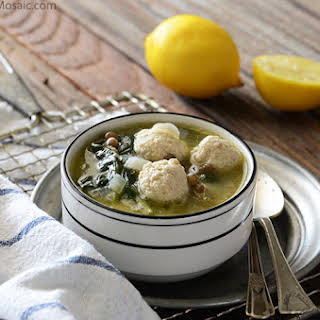 Lentil Soup with Spinach and Mini Chicken Meatballs {Gluten-Free}.