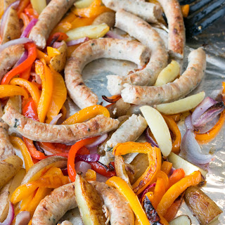 One Pan Chicken Sausage, Peppers, Onions & Potatoes.