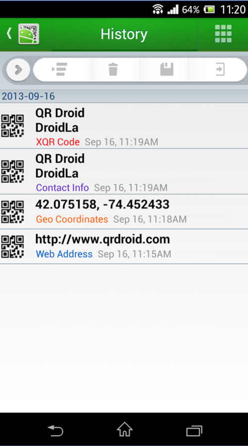 QR Droid Private™ (Português): captura de tela