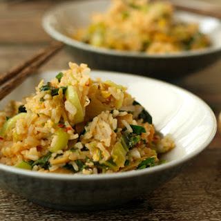 Kimchi Fried Rice With Bok Choy, Scallions And Cilantro