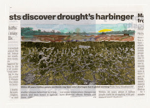Photo: Discover Drought's Harbinger. Watercolor and gold leaf on news paper, (177 x 116 mm).