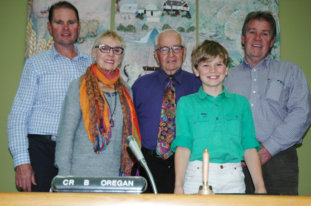 SPECIAL OCCASION: Retiring Narrabri Shire councillor and former Mayor Bevan O'Regan with his family at the Narrabri Shire Council chambers on Tuesday after making a farewell speech - son Adam (Scone), wife Margaret, grandson (and Adam's son) Daniel, 10, and son Craig. Absent was Cr and Mrs O'Regan's Queensland-based son Scott.