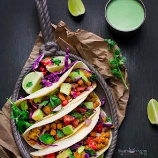 Roasted Chickpeas and Cauliflower Tacos.