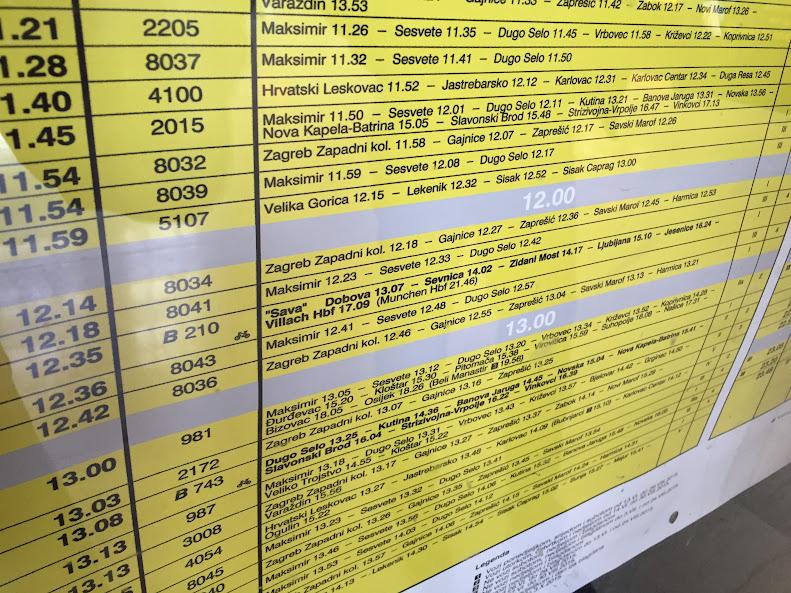 ザグレブ中央駅 時刻表