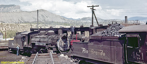 Photo: 078-06.  Class K-36 engines 481 and 486 getting ready to leave roundhouse area as a double header to pick up a train headed for Chama, Antonito, and Alamosa, Colorado.  7/28/60.
