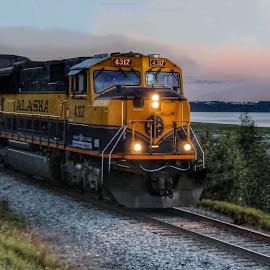 Alaska Railroad  Train by Patricia Phillips - Transportation Trains ( alaska railroad trains anchorage )