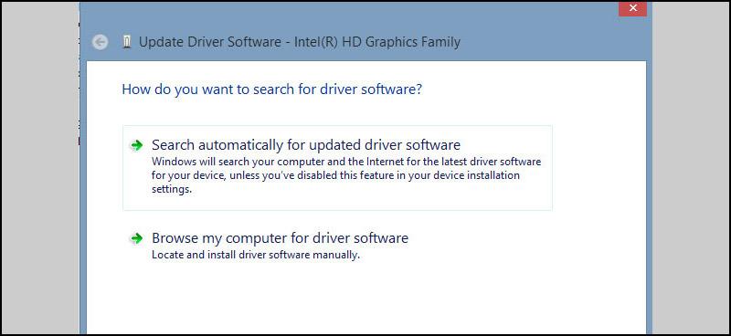 Một pop up xuất hiện với 2 lựa chọn: Windows Update tự động tìm kiếm hoặc trong máy.