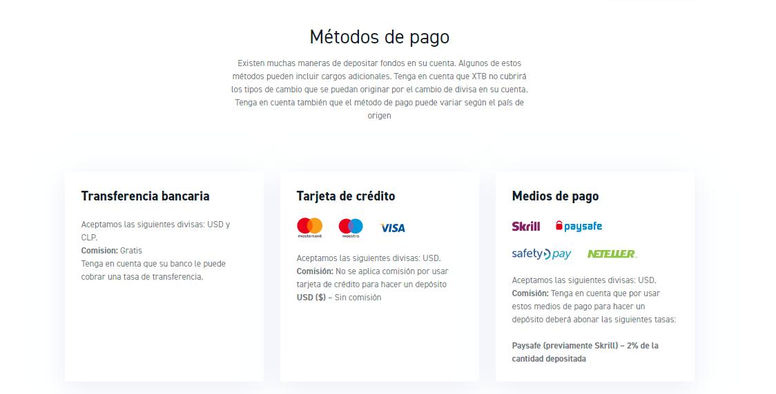 invertir en criptomonedas: Métodos de pago para depositar en XTB