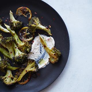 Roasted Lemon Broccoli with Tahini-Yogurt Sauce