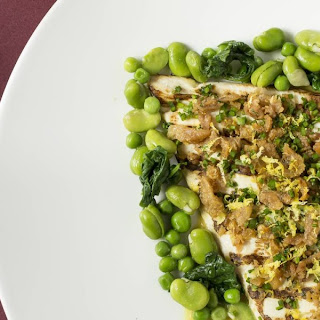 Chicken Paillard with Peas and Broad Beans.