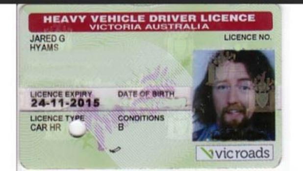 Licencia de edad del conductor VicRoads Jared Hyams '.