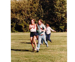 Photo: 1983 MTS Workshop, University of Alberta (UQV), Edmonton,  Alberta, Canada - 2-legged race - Diane and Jim Bodwin in the race (sporting their first place ribbons from the Egg Toss!)