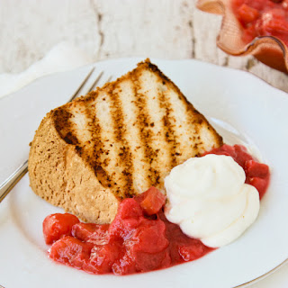 Grilled Angel Food Cake with Mom's Super Simple Rhubarb Sauce