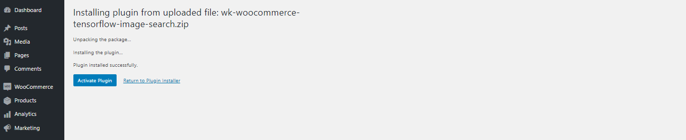 WooCommerce TensorFlow Image Search activate plugin