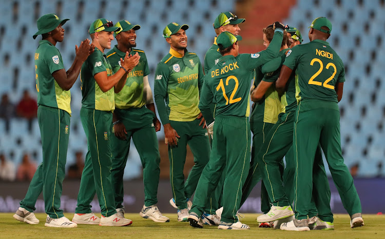 Anrich Nortje of South Africa celebrates with teammates the wicket of Oshada Fernando of Sri Lanka during the 2019 One Day International match between South Africa and Sri Lanka at Supersport Park Stadium, Pretoria on 06 March 2019.