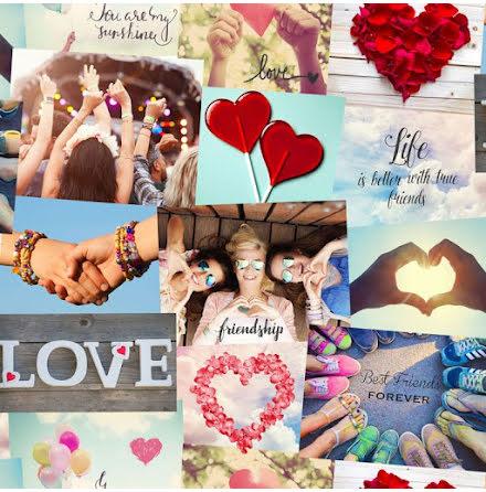 Fine Decor Love Hearts Festival Collage Tapet