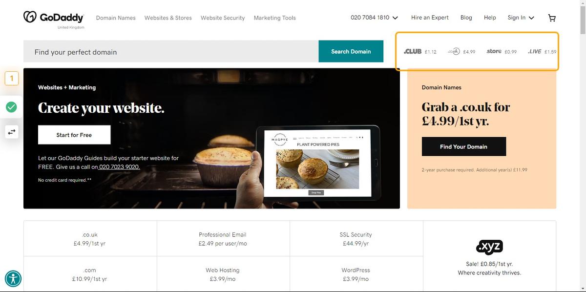 Go to Domain Names, Websites, Hosting & Online Marketing Tools - GoDaddy UK