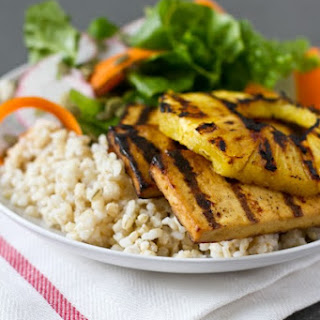 Teriyaki Grilled Tofu With Grilled Pineapple + Coconut Rice
