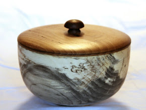 "Photo: Bob Browning 5"" x 7"" Beads of Courage box [spalted box elder, sycamore, walnut]"