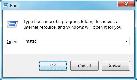 Run command for remote desktop