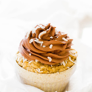 Banana Coconut Cupcake with Whipped Chocolate Frosting.
