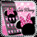 Pink Black Minny Bow Theme icon