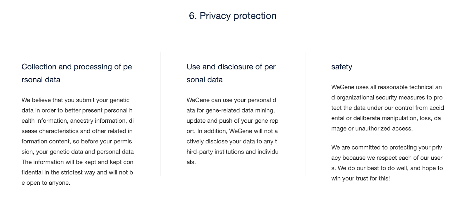 Privacy guarantees.