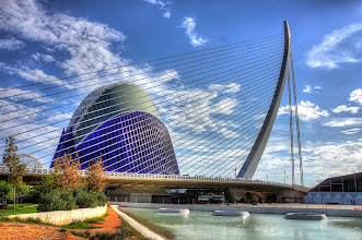 Photo: L'Agora and Sundial Bridge in Valencia, Spain designed by Spanish architect Santiago Calatrava.