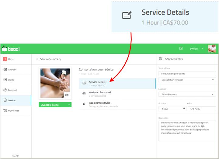 set up service details