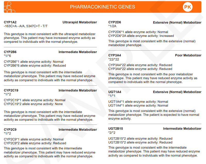 Pharmacokinetic genes in the report.