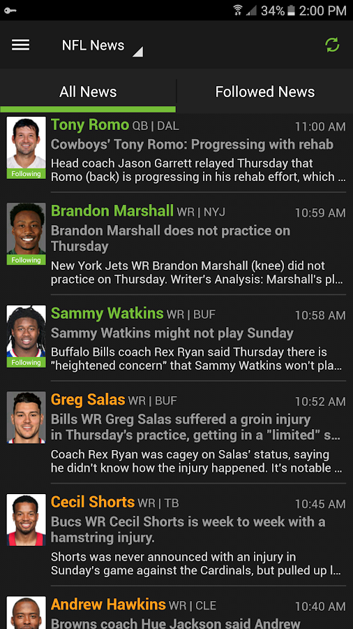 Fantasy Football & NFL News- screenshot