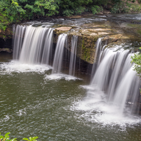 Ludlow Falls by Kenneth Keifer - Landscapes Waterscapes ( stream, splash, flowing, miami county, midwest, waterfall, cliff, ludlow creek, scenic, plunging, flow, blur, plunge, landscape, rural, blurred, splashing, ohio, nature, creek, ludlow falls, cataract, long exposure, whitewater )