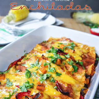 Butternut, Spinach, and Black Bean Enchiladas {Vegetarian}
