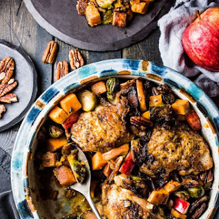 One Pan Bacon Apple Chicken with Sweet Potatoes and Brussels Sprouts.