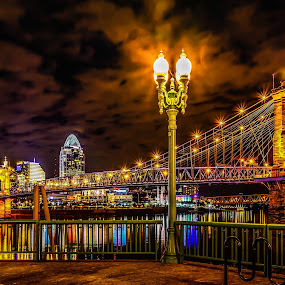 Light Post by Mike Svach - Buildings & Architecture Bridges & Suspended Structures ( lights, cityscape, rivers, nightscape, city )