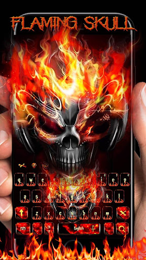 Horror skull Keyboard Theme Fire Skull 10001009 screenshots 1