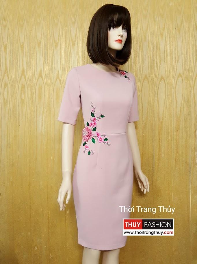 Váy bút chì dài công sở hoa thêu V509 tại Thời Trang Thủy