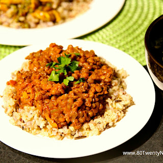Lentil Coconut Curry with Brown Basmati Rice.