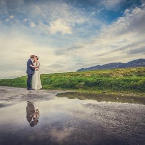 Reflections by Paul Duane - Wedding Bride & Groom ( married, wife, wedding, husband, landscape )