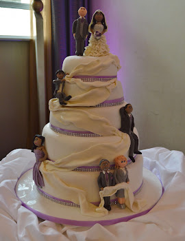 white and lilac wedding cake