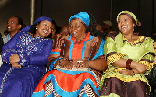 Jacob Zuma the South African President had a party at his hometown in Nkandla celebrating his victory as the South African President. Jacob Zuma's wives sharing a light moment from left is Nompumelelo Ntuli, Sizake MaKhumalo Zuma and Thobeka Madiba (formerly Mabhija). Picture Credit: Simphiwe Nkwali. © Sunday Times