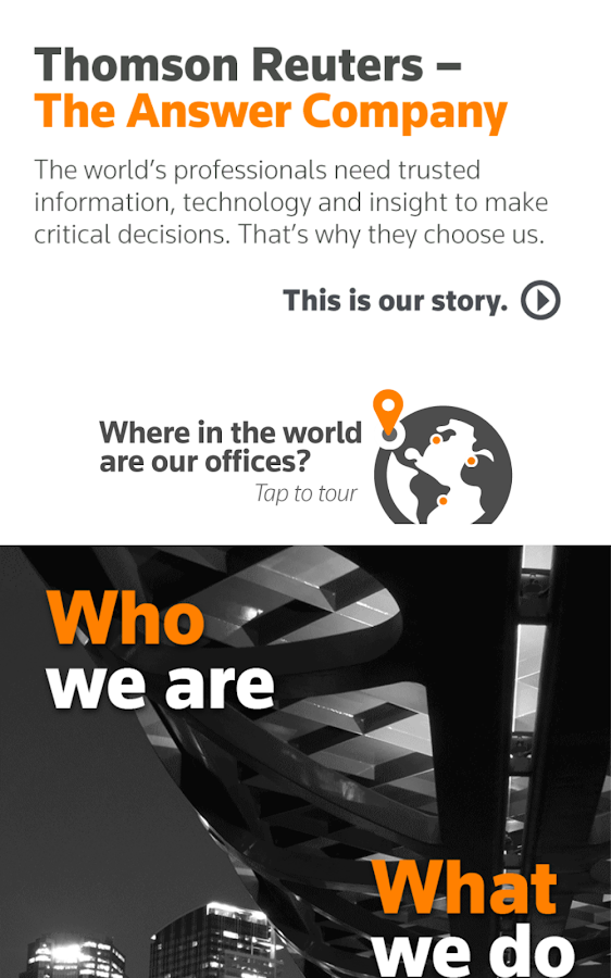 Thomson Reuters Our Story- screenshot